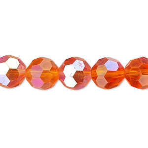 Bead, Celestial Crystal®, Glass, 32-facet, Transparent Orange AB, 10mm Faceted Round. Sold Per 16-inch Strand A1695GL