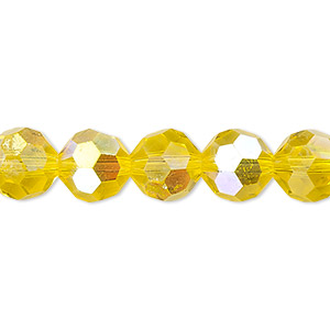 Bead, Celestial Crystal®, Glass, 32-facet, Transparent Yellow AB, 10mm Faceted Round. Sold Per 16-inch Strand A1697GL
