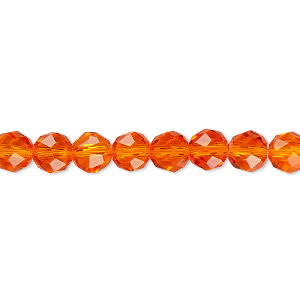 Bead, Celestial Crystal®, 48-facet, Transparent Orange, 6mm Faceted Round. Sold Per 16-inch Strand A1698GL