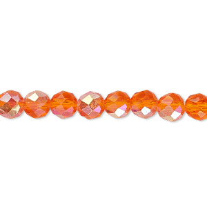 Bead, Celestial Crystal®, Glass, 48-facet, Transparent Orange AB, 6mm Faceted Round. Sold Per 16-inch Strand A1699GL
