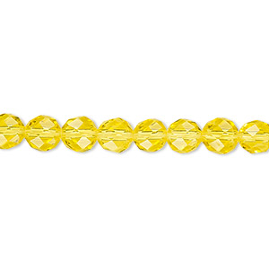Bead, Celestial Crystal®, 48-facet, Transparent Yellow, 6mm Faceted Round. Sold Per 16-inch Strand A1700GL