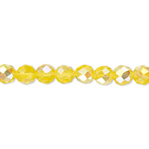 Bead, Celestial Crystal®, Glass, 48-facet, Transparent Yellow AB, 6mm Faceted Round. Sold Per 16-inch Strand A1701GL