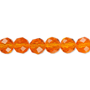 Bead, Celestial Crystal®, 48-facet, Transparent Orange, 8mm Faceted Round. Sold Per 16-inch Strand A1702GL