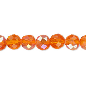 Bead, Celestial Crystal®, Glass, 48-facet, Transparent Orange AB, 8mm Faceted Round. Sold Per 16-inch Strand A1703GL