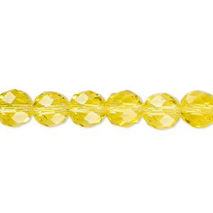 Bead, Celestial Crystal®, 48-facet, Transparent Yellow, 8mm Faceted Round. Sold Per 16-inch Strand A1704GL