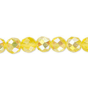 Bead, Celestial Crystal®, Glass, 48-facet, Transparent Yellow AB, 8mm Faceted Round. Sold Per 16-inch Strand A1705GL