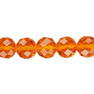 Bead, Celestial Crystal®, 48-facet, Transparent Orange, 10mm Faceted Round. Sold Per 16-inch Strand A1706GL