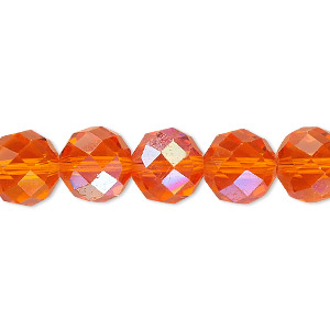 Bead, Celestial Crystal®, Glass, 48-facet, Transparent Orange AB, 10mm Faceted Round. Sold Per 16-inch Strand A1707GL