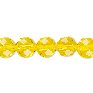Bead, Celestial Crystal®, 48-facet, Transparent Yellow, 10mm Faceted Round. Sold Per 16-inch Strand A1708GL