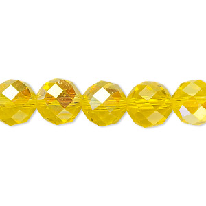 Bead, Celestial Crystal®, Glass, 48-facet, Transparent Yellow AB, 10mm Faceted Round. Sold Per 16-inch Strand A1709GL