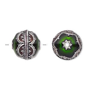 Bead, Enamel Antique Silver-plated Brass, Transparent Red Green, 14mm Beaded Round. Sold Individually