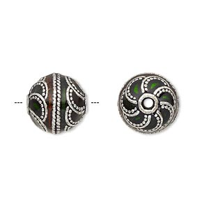 Bead, Enamel Antique Silver-plated Brass, Transparent Red Green, 12.5mm Beaded Round. Sold Individually