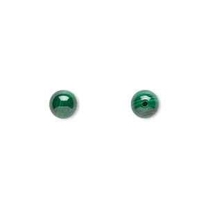 Bead, Malachite (natural), 6mm Half-drilled Round, B Grade, Mohs Hardness 3-1/2 4. Sold Per Pkg 2
