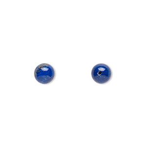 Bead, Lapis Lazuli (natural), 6mm Half-drilled Round, B Grade, Mohs Hardness 5 6. Sold Per Pkg 2