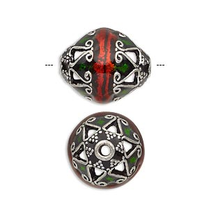 Bead, Enamel Antique Silver-plated Brass, Transparent Red Green, 19x15mm Beaded Oval. Sold Individually