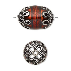 Bead, Enamel Antique Silver-plated Brass, Transparent Red, 22x14.5mm Beaded Barrel. Sold Individually