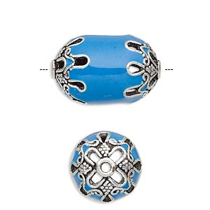 Bead, Enamel Antique Silver-plated Brass, Opaque Turquoise Blue, 22x14.5mm Beaded Barrel. Sold Individually