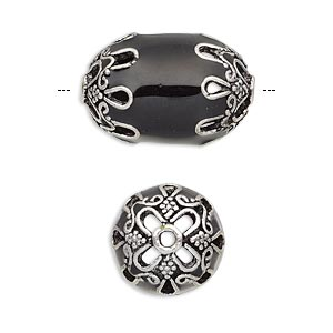 Beads Enameled Metals Blacks