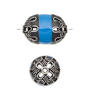 Bead, Enamel Antiqued Silver-finished Brass, Opaque Turquoise Blue Black, 22x14.5mm Beaded Barrel. Sold Individually
