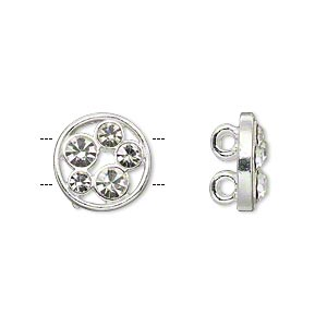 "Spacer, Silver-plated ""pewter"" (zinc-based Alloy) Czech Glass Rhinestone, Clear, 13mm 2-strand Single-sided Flat Round Circle Cutout Design, Fits 5mm Beads. Sold Per Pkg 2"