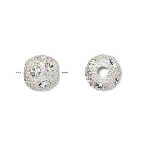 "Bead, Silver-plated ""pewter"" (zinc-based Alloy) Czech Glass Rhinestone, Clear, 10mm Round 4mm Hole. Sold Per Pkg 2"