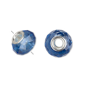 Bead, Dione®, Glass Silver-plated Brass Grommets, Medium Blue, 13x9mm-14x10mm Faceted Rondelle, 4.5mm Hole. Sold Individually A1812GL