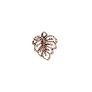 Charm, JBB Findings, Antique Copper-plated Brass, 12x12mm Double-sided Leaf Cutout Design. Sold Per Pkg 2 8273BRACO