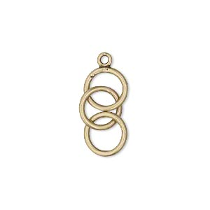 Drop, JBB Findings, Antiqued Brass, 23x9mm (3) 9mm Interlocking Circles. Sold Per Pkg 2 8295ABR