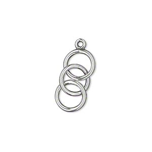 Drop, JBB Findings, Antique Silver-plated Brass, 23x9mm (3) 9mm Interlocking Circles. Sold Per Pkg 2 8295BRASP