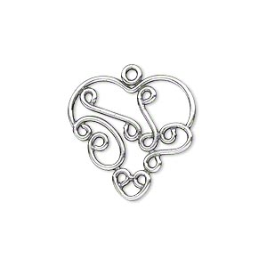 Charm, JBB Findings, Antique Silver-plated Brass, 21x21mm Fancy Heart Swirl Design. Sold Per Pkg 2 7574BRASP