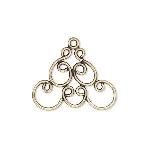 Drop, JBB Findings, Antiqued Brass, 25x18mm Fancy Design. Sold Per Pkg 2 7576ABR
