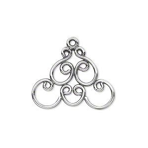 Drop, JBB Findings, Antique Silver-plated Brass, 25x18mm Fancy Design. Sold Per Pkg 2 7576BRASP