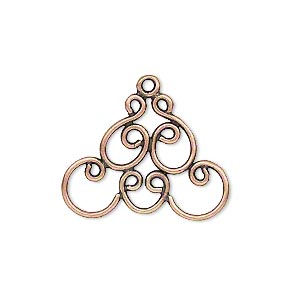 Drop, JBB Findings, Antique Copper-plated Brass, 25x18mm Fancy Design. Sold Per Pkg 2 7576BRACO