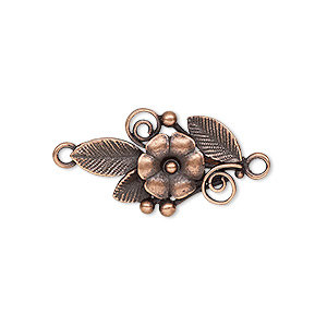 Link, JBB Findings, Antique Copper-plated Brass, 23.5x14mm Single-sided Flower Leaves. Sold Individually 8355BRACO