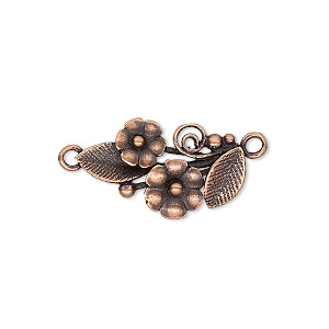Link, JBB Findings, Antique Copper-plated Brass, 22.5x13mm Single-sided Flower Leaves. Sold Per Pair 8357/8356BRACO