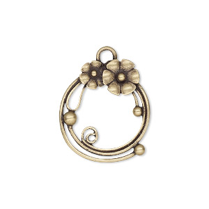 Drop, JBB Findings, Antiqued Brass, 22x19mm Single-sided Round Flowers. Sold Individually 8360ABR