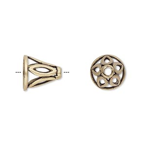 Cone, JBB Findings, Antiqued Brass, 11x11mm Cutout Marquise Design, Fits 8.5mm Bead. Sold Individually 8113ABR