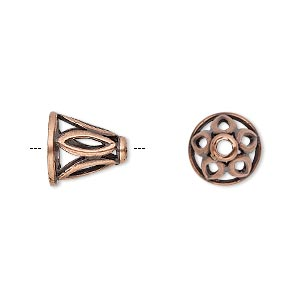 Cone, JBB Findings, Antique Copper-plated Brass, 11x11mm Cutout Marquise Design, Fits 8.5mm Bead. Sold Individually 8113BRACO