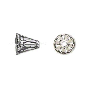 Cone, JBB Findings, Antique Silver-plated Brass, 11x11mm Cutout Design, Fits 8.5mm Bead. Sold Individually 8112BRASP