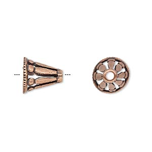 Cone, JBB Findings, Antique Copper-plated Brass, 11x11mm Cutout Design, Fits 8.5mm Bead. Sold Individually 8112BRACO