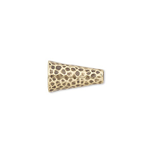 Cone, JBB Findings, Antiqued Brass, 15.5x9mm Hammered, Fits 7.5mm Bead. Sold Individually 8108ABR