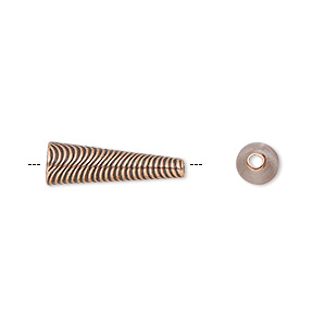 Cone, JBB Findings, Antique Copper-plated Brass, 18.5x6mm Wavy Line Design, Fits 5mm Bead. Sold Individually 7281BRACO