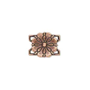 Link, JBB Findings, Antiqued Copper-plated Brass, 13x13mm Single-sided Flower. Sold Individually 5574BRACO