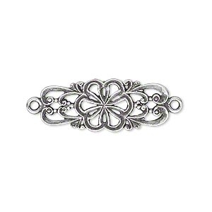 Link, JBB Findings, Antique Silver-plated Brass, 26.5x11mm Double-sided Fancy Flower Swirl Design. Sold Individually 7849BRASP