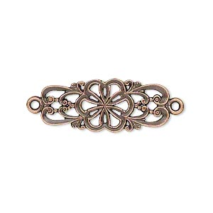 Link, JBB Findings, Antique Copper-plated Brass, 26.5x11mm Single-sided Fancy Flower Swirl Design. Sold Individually 7849BRACO