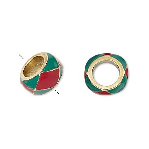 "Bead, Dione®, Enamel Gold-finished ""pewter"" (zinc-based Alloy), Opaque Red Green, 13x7mm Rondelle 7mm Hole. Sold Individually"