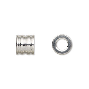 Bead, Stainless Steel, 10x9mm Ribbed Round Tube 5.5mm Hole. Sold Per Pkg 10