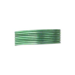 French Wire, Enamel-coated Brass, Green, 0.7mm Tube. Sold Per Pkg (2) 19-1/2 Inch Strands
