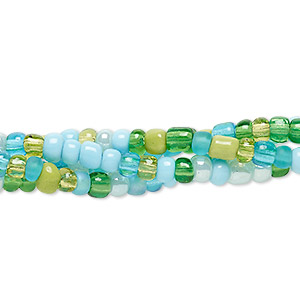 Seed Bead Mix, Glass, Transparent Opaque Luster Multicolored, #6 Round. Sold Per Pkg (4) 22-inch Strands