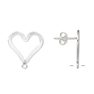 Earstud, Sterling Silver-filled Sterling Silver, 17x15mm Flat Open Heart Closed Loop. Sold Per Pair